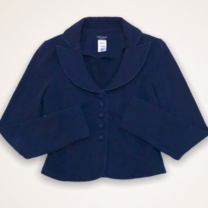 💫4/30 GUESS Navy Fleece Cropped Sweater Jacket